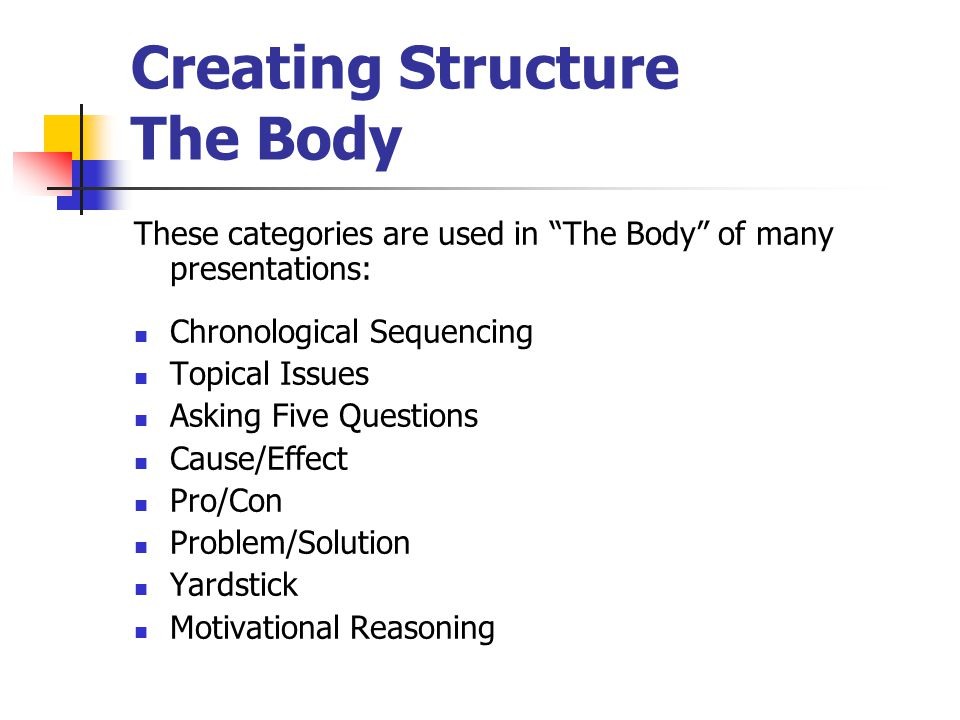 Creating Structure This basic structure works for a variety of presentations: Introduction - Grab Attention! Credibility - Introduce yourself and stat