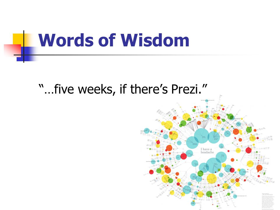 Words of Wisdom …five weeks, if there's Prezi.