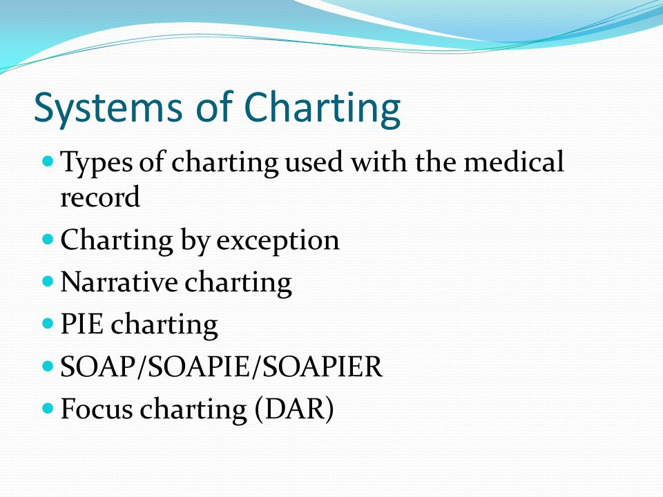Systems of Charting Types of charting used with the medical record Charting by exception Narrative charting PIE charting SOAP/SOAPIE/SOAPIER Focus cha