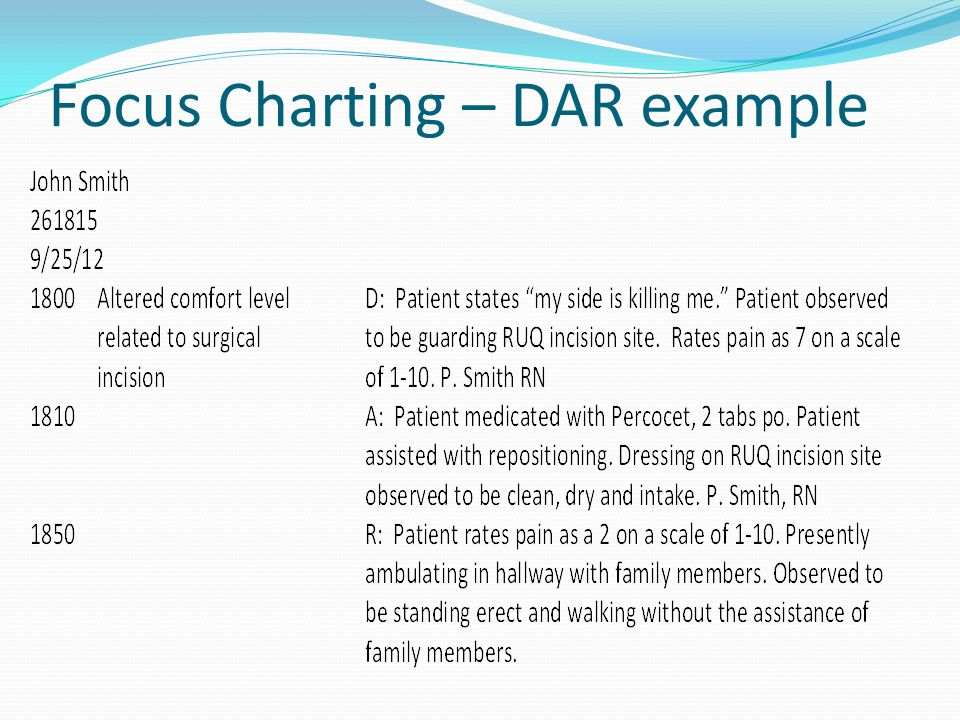 Focus Charting – DAR example
