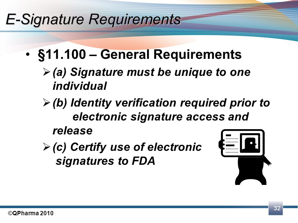 32 ©QPharma 2010 §11.100 – General Requirements  (a) Signature must be unique to one individual  (b) Identity verification required prior to electro