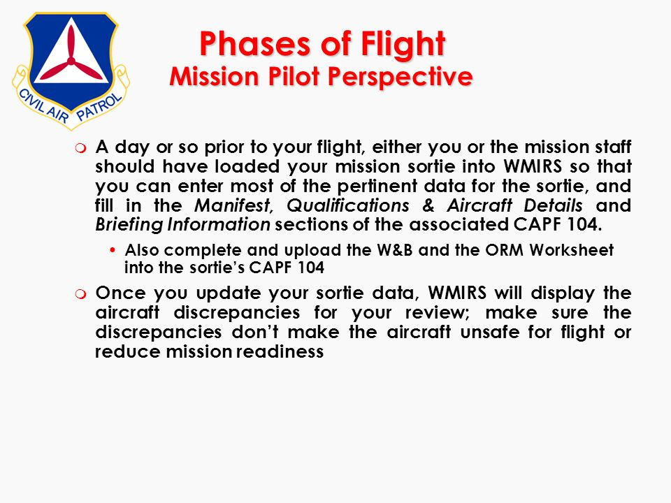 Phases of Flight Mission Pilot Perspective m A day or so prior to your flight, either you or the mission staff should have loaded your mission sortie