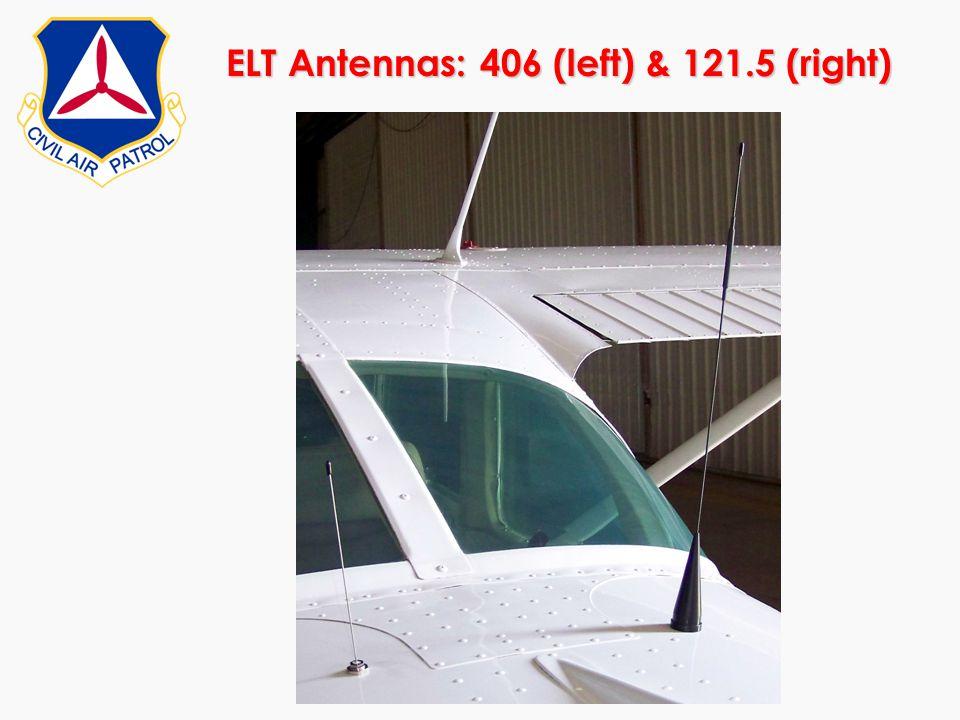ELT Antennas: 406 (left) & 121.5 (right)