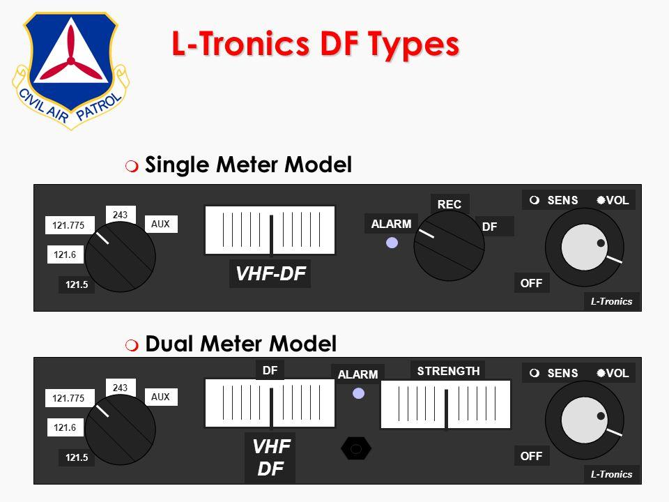 ©2000 Scott E. Lanis187 L-Tronics DF Types m Single Meter Model m Dual Meter Model L-Tronics ALARM OFF 243 121.6 121.775 AUX 121.5   SENS  VOL VHF