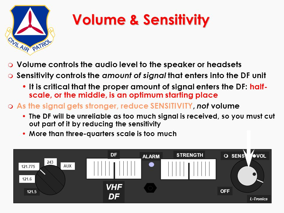 ©2000 Scott E. Lanis190 Volume & Sensitivity m Volume controls the audio level to the speaker or headsets m Sensitivity controls the amount of signal