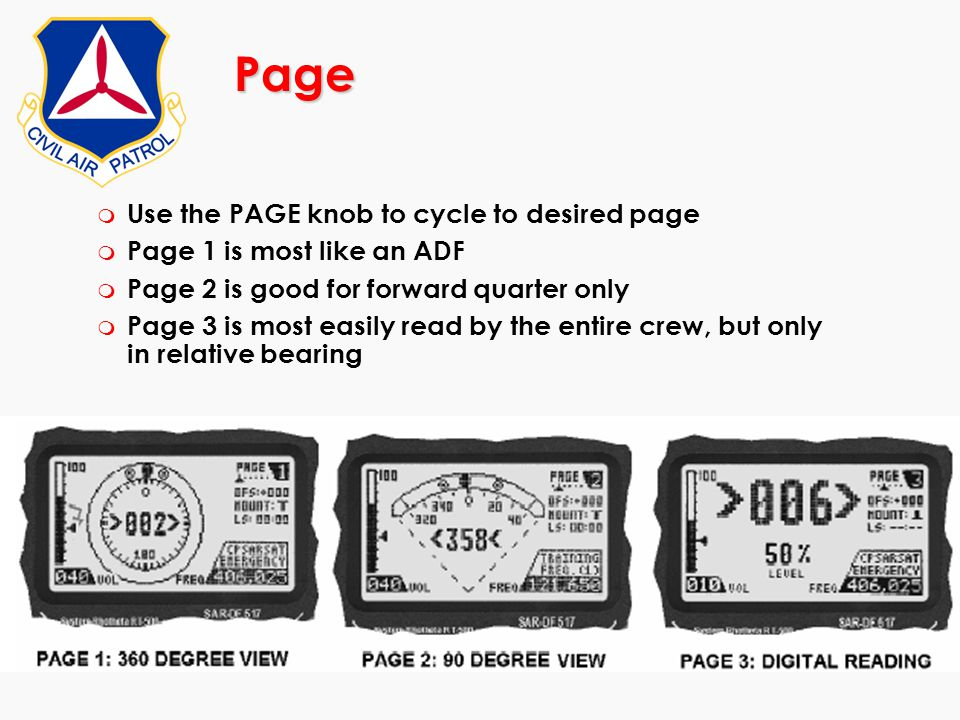 Page m Use the PAGE knob to cycle to desired page m Page 1 is most like an ADF m Page 2 is good for forward quarter only m Page 3 is most easily read
