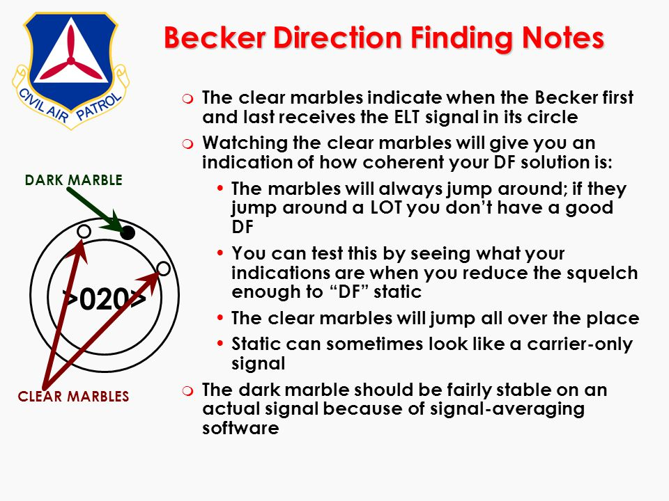 Becker Direction Finding Notes m The clear marbles indicate when the Becker first and last receives the ELT signal in its circle m Watching the clear