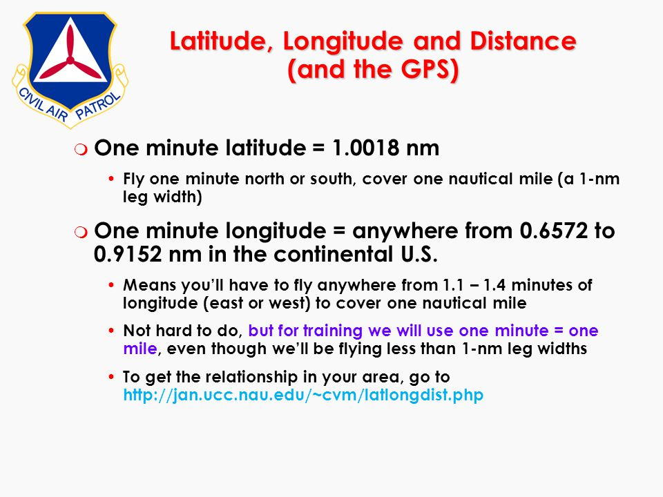m One minute latitude = 1.0018 nm Fly one minute north or south, cover one nautical mile (a 1-nm leg width) m One minute longitude = anywhere from 0.6
