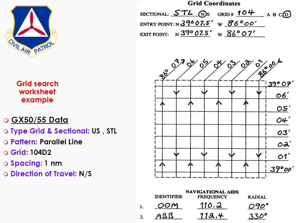 Grid search worksheet example m GX50/55 Data m Type Grid & Sectional: US, STL m Pattern: Parallel Line m Grid: 104D2 m Spacing: 1 nm m Direction of Tr