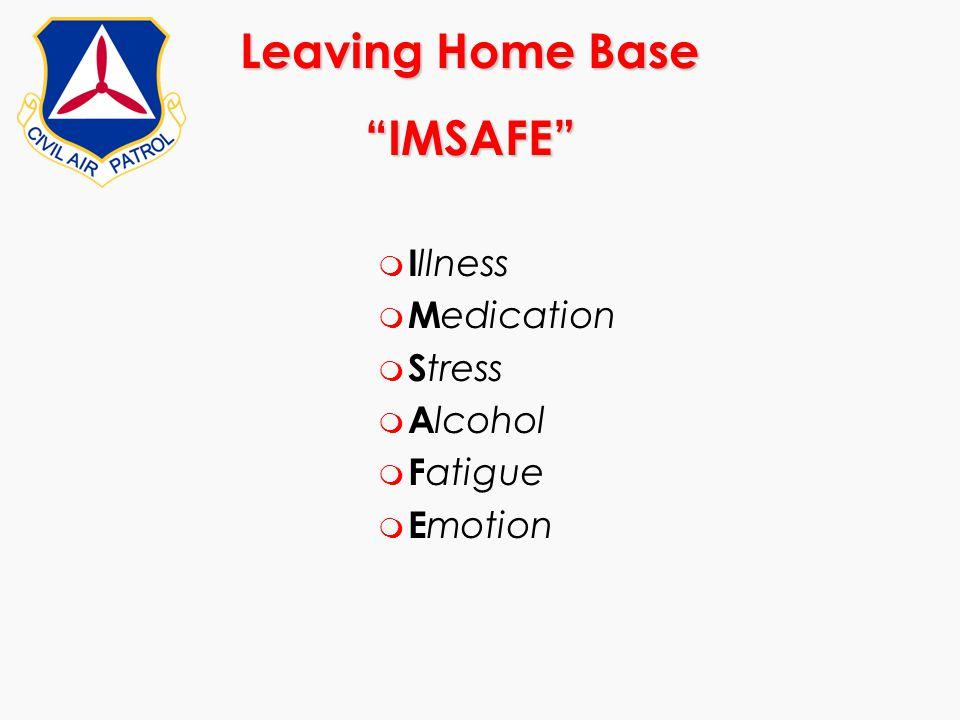 "Leaving Home Base ""IMSAFE"" m I llness m M edication m S tress m A lcohol m F atigue m E motion"