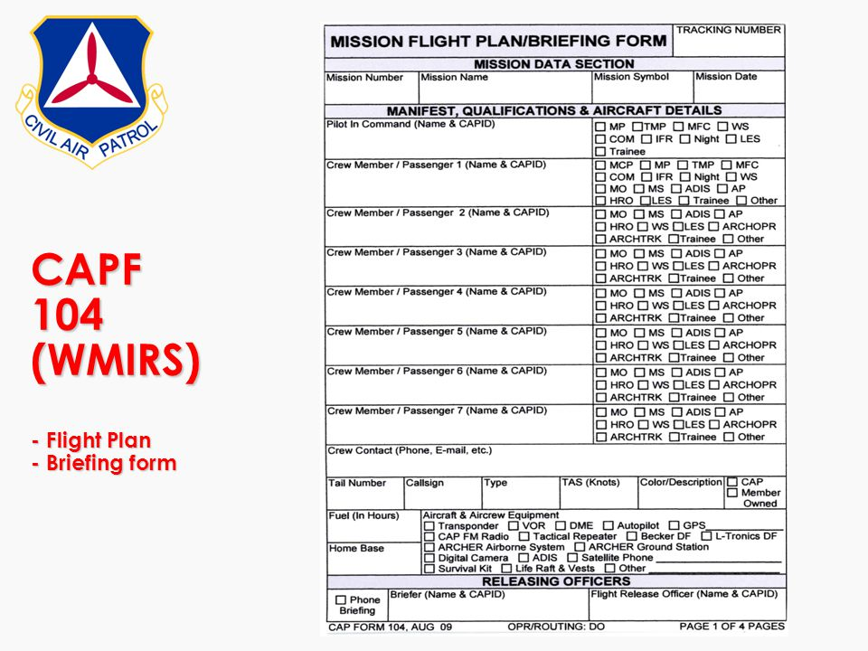 CAPF 104 (WMIRS) - Flight Plan - Briefing form