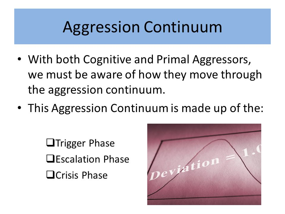 Aggression Continuum  Trigger Phase ( Heart Rate 60-80, normal)  Calm, normal breathing  An activating event occurs  Begin to experience stress and anxiety  Circumstances are dynamic but everyone is coping  Offers a baseline  Begins escalating….