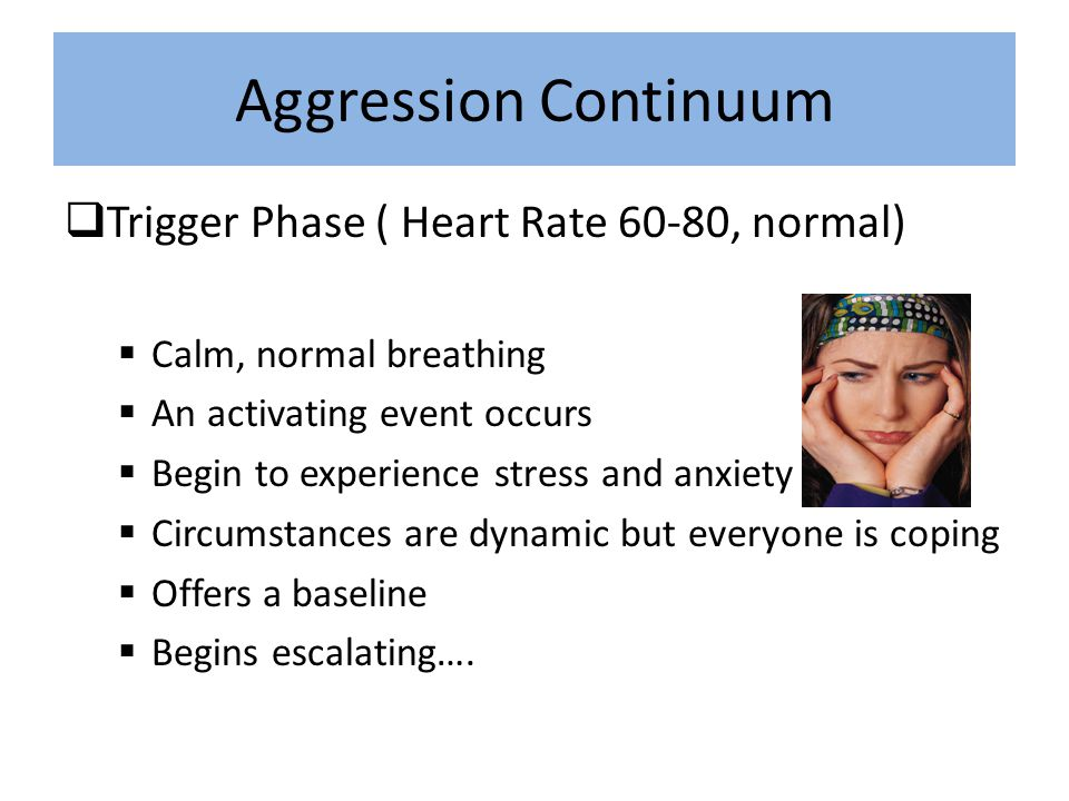 Aggressive Behavior Types The Clam – These individuals are disengaged, silent and unresponsive – They may be upset or frustrated, but never communicate it