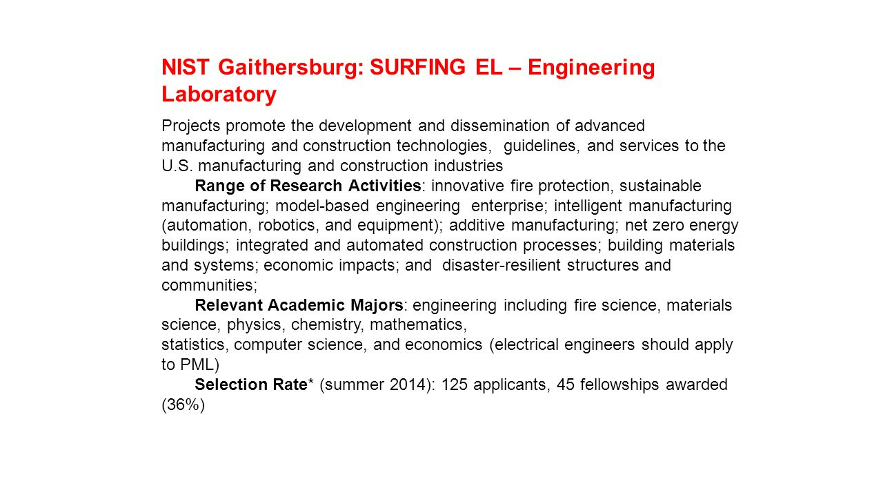 NIST Gaithersburg: SURFING EL – Engineering Laboratory Projects promote the development and dissemination of advanced manufacturing and construction technologies, guidelines, and services to the U.S.