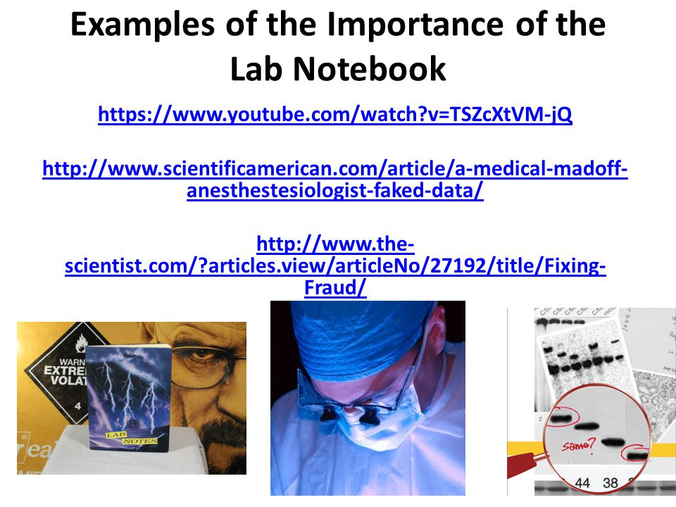 Examples of the Importance of the Lab Notebook https://www.youtube.com/watch?v=TSZcXtVM-jQ http://www.scientificamerican.com/article/a-medical-madoff-