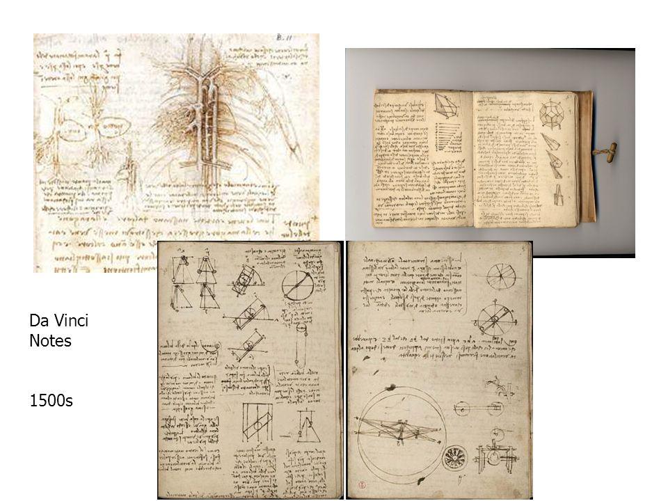Da Vinci Notes 1500s