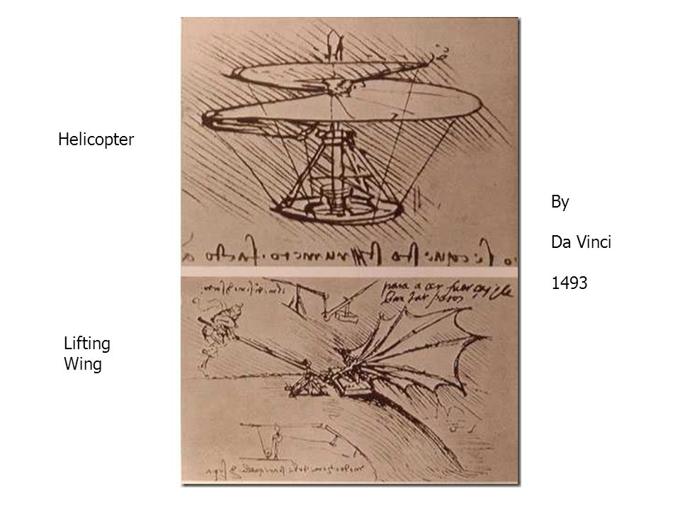 Helicopter Lifting Wing By Da Vinci 1493
