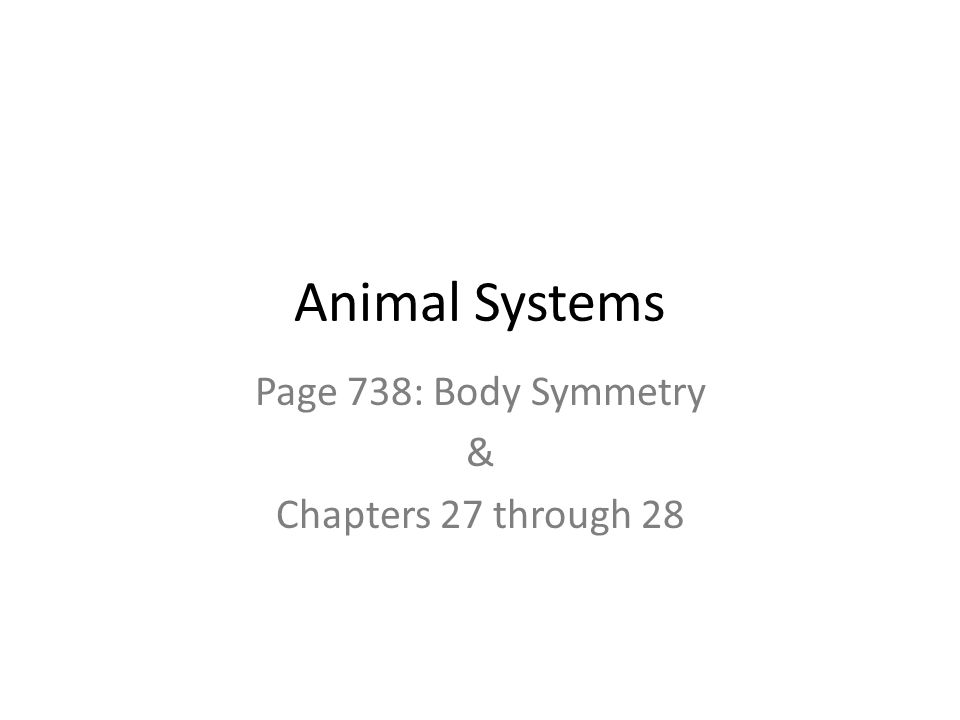Animal Systems Page 738: Body Symmetry & Chapters 27 through 28