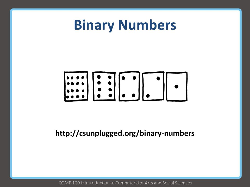 COMP 1001: Introduction to Computers for Arts and Social Sciences Binary Numbers http://csunplugged.org/binary-numbers