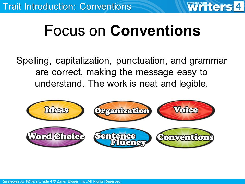 Strategies for Writers Grade 4 © Zaner-Bloser, Inc. All Rights Reserved. Focus on Conventions Spelling, capitalization, punctuation, and grammar are c