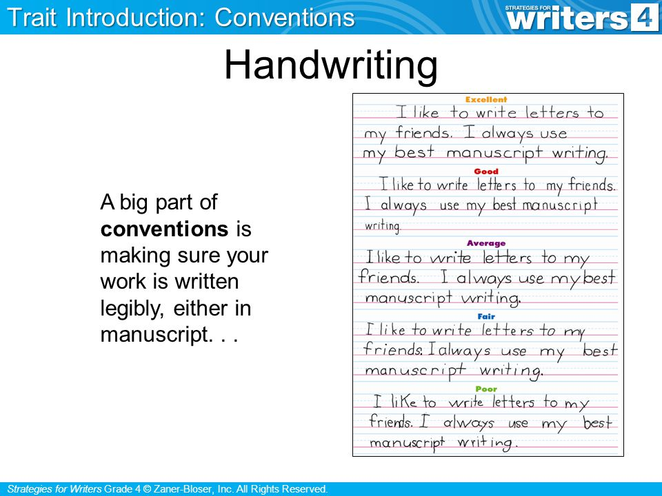 Strategies for Writers Grade 4 © Zaner-Bloser, Inc. All Rights Reserved. Handwriting A big part of conventions is making sure your work is written leg