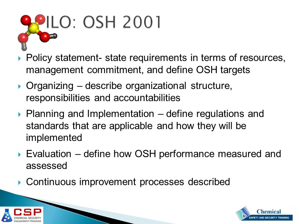 Policy statement- state requirements in terms of resources, management commitment, and define OSH targets  Organizing – describe organizational structure, responsibilities and accountabilities  Planning and Implementation – define regulations and standards that are applicable and how they will be implemented  Evaluation – define how OSH performance measured and assessed  Continuous improvement processes described