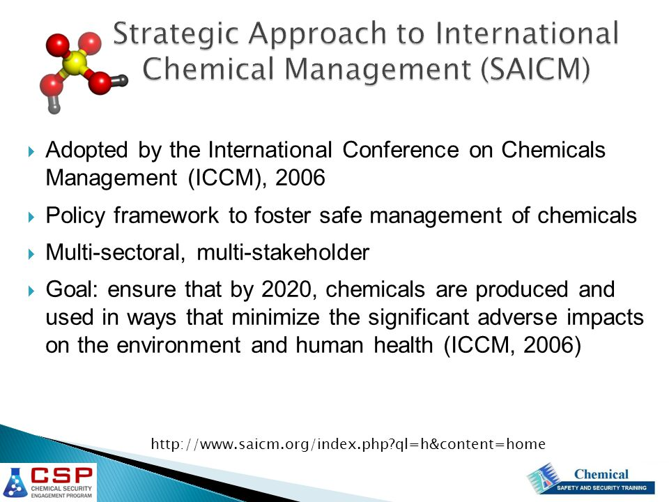 Adopted by the International Conference on Chemicals Management (ICCM), 2006  Policy framework to foster safe management of chemicals  Multi-sectoral, multi-stakeholder  Goal: ensure that by 2020, chemicals are produced and used in ways that minimize the significant adverse impacts on the environment and human health (ICCM, 2006) http://www.saicm.org/index.php ql=h&content=home