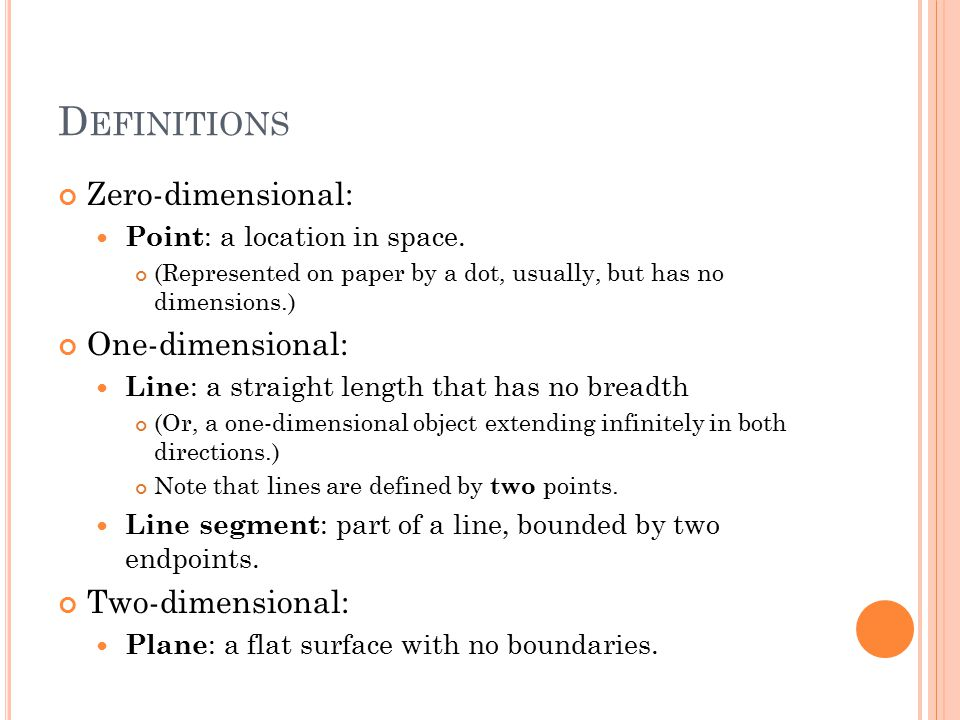 D EFINITIONS Zero-dimensional: Point : a location in space.
