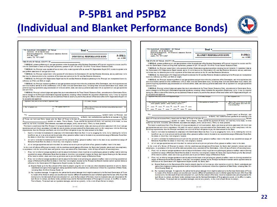 P-5PB1 and P5PB2 (Individual and Blanket Performance Bonds) 22