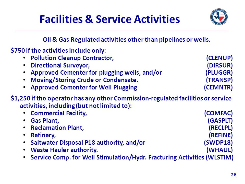 Facilities & Service Activities Oil & Gas Regulated activities other than pipelines or wells. $750 if the activities include only: Pollution Cleanup C