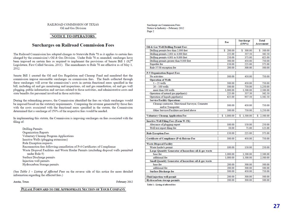 Filing fee and Surcharges Statewide Rule 78 amended to impose a surcharge of 150% to filing fees Effective May 1, 2012 Notification to industry sent o