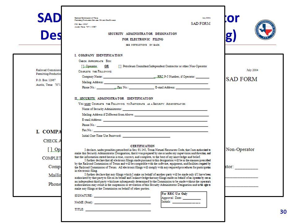 SAD Form (Security Administrator Designation For Electronic Filing) 30