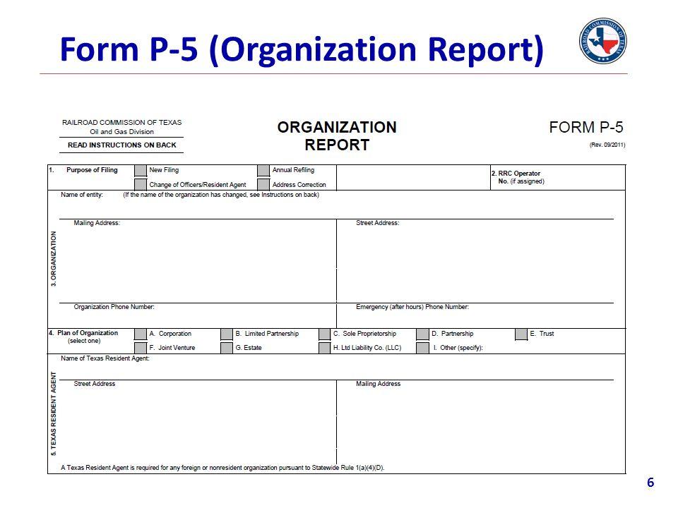 Form P-5 (Organization Report) 6