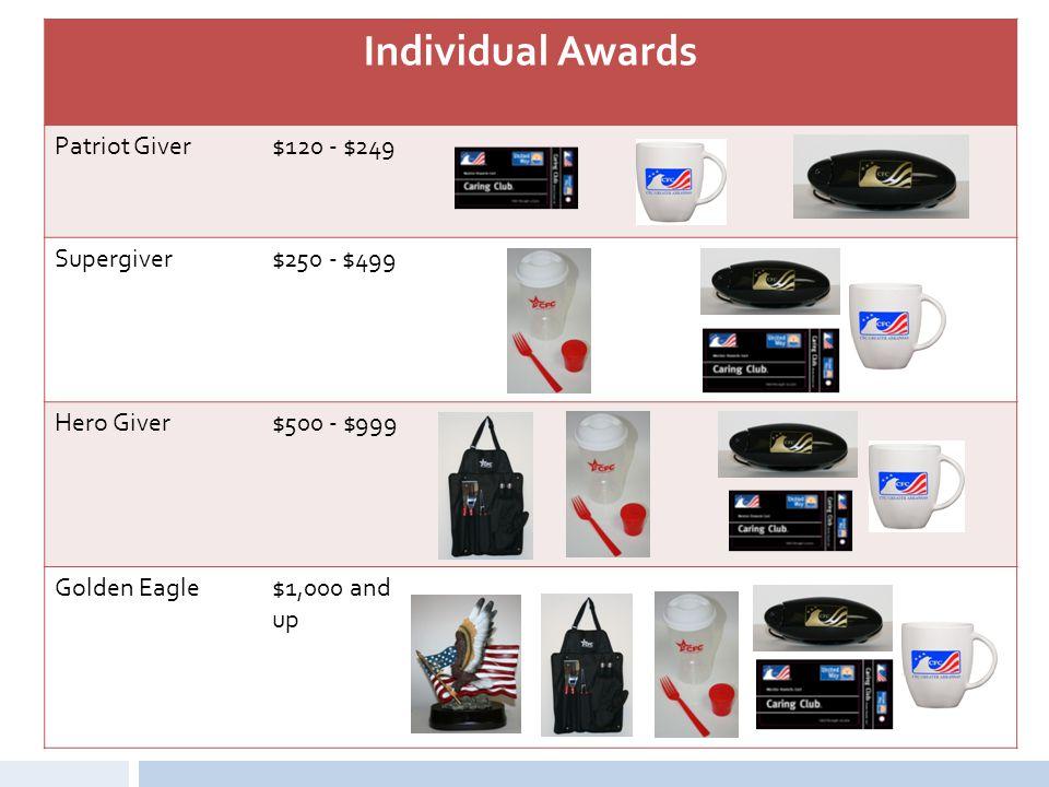 Individual Awards Patriot Giver$120 - $249 Supergiver$250 - $499 Hero Giver$500 - $999 Golden Eagle$1,000 and up