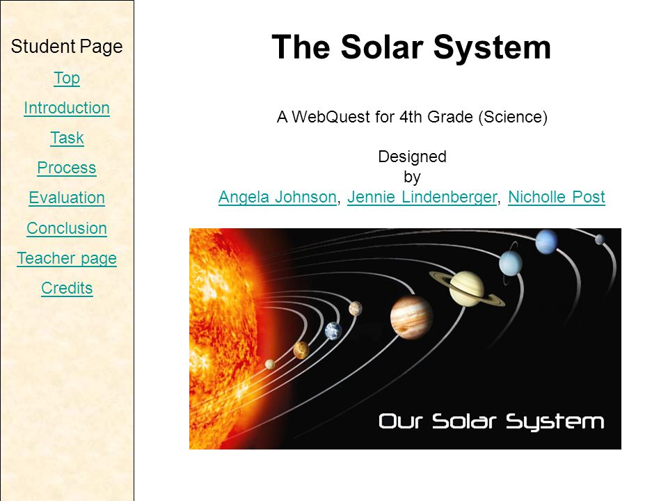 Teacher Page Top Introduction Learner Standards Process Resources Evaluation Conclusion Student page Credits Curriculum Standards Space Science Standard 3.3.4 B1: Identify planets in our solar system and their basic characteristics.