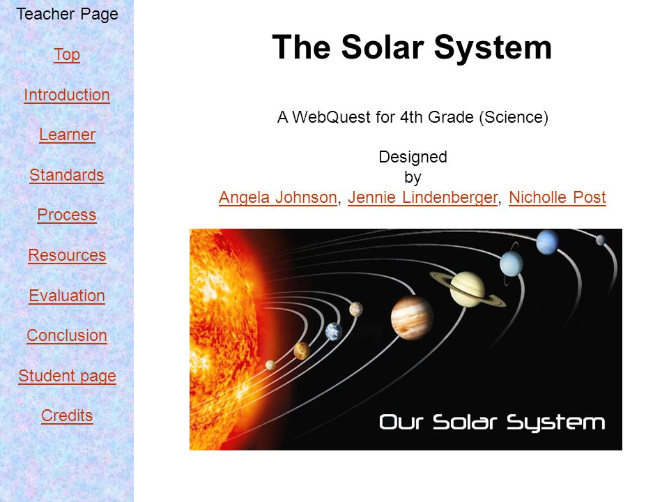 Teacher Page Top Introduction Learner Standards Process Resources Evaluation Conclusion Student page Credits Credits &References http://www.wpclipart.com/space/solar_system/solar_system_large.png.html http://milo.com/magic-school-bus-lost-in-the-solar-system-magic-school-bus-series http://languageisavirus.com/grey-gardens/store/view.php?asin=630339678X