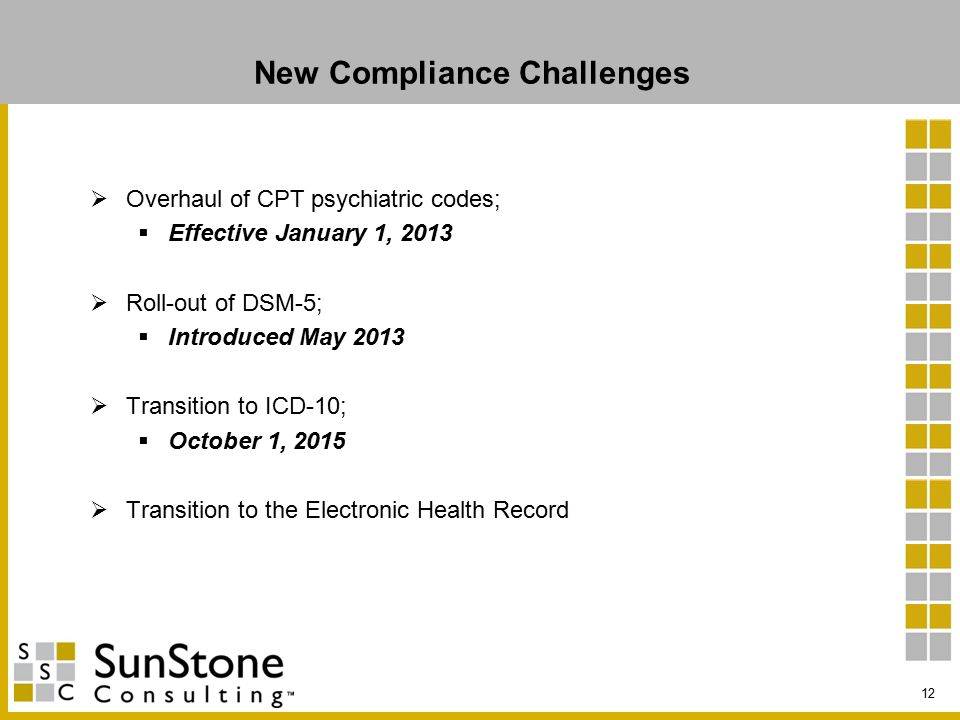 New Compliance Challenges  Overhaul of CPT psychiatric codes;  Effective January 1, 2013  Roll-out of DSM-5;  Introduced May 2013  Transition to ICD-10;  October 1, 2015  Transition to the Electronic Health Record 12