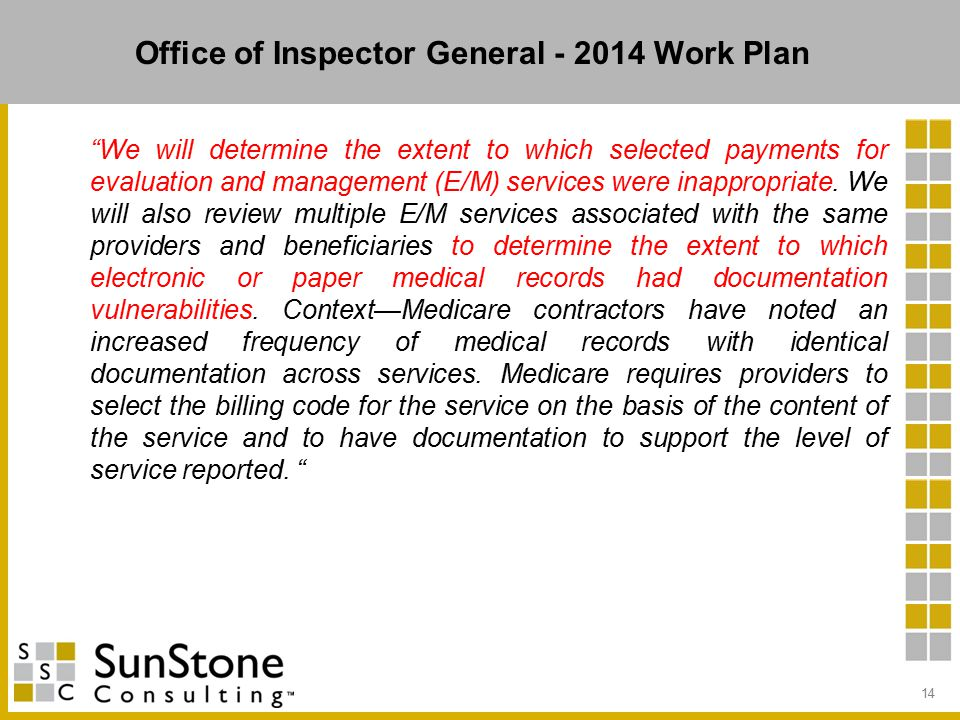Office of Inspector General - 2014 Work Plan We will determine the extent to which selected payments for evaluation and management (E/M) services were inappropriate.