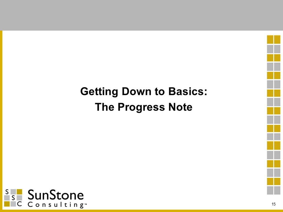 Getting Down to Basics: The Progress Note 15