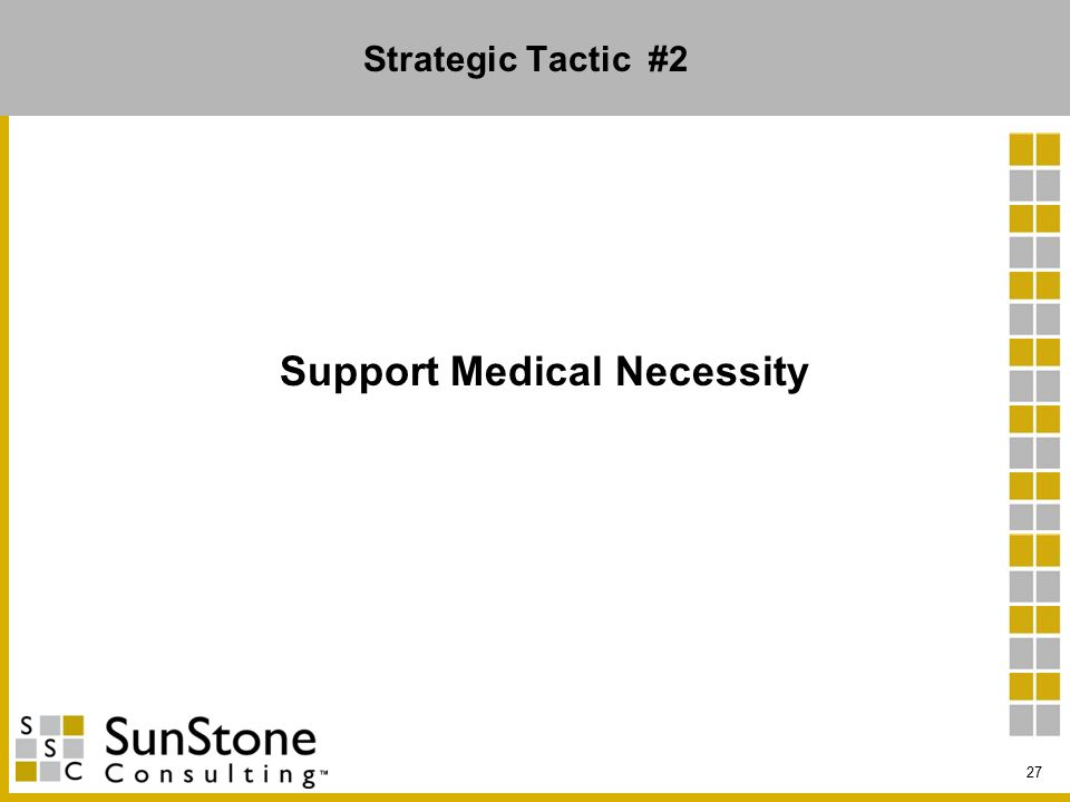 Strategic Tactic #2 Support Medical Necessity 27
