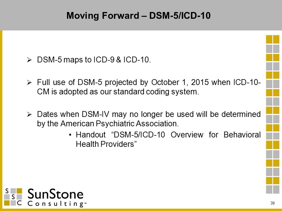 Moving Forward – DSM-5/ICD-10  DSM-5 maps to ICD-9 & ICD-10.