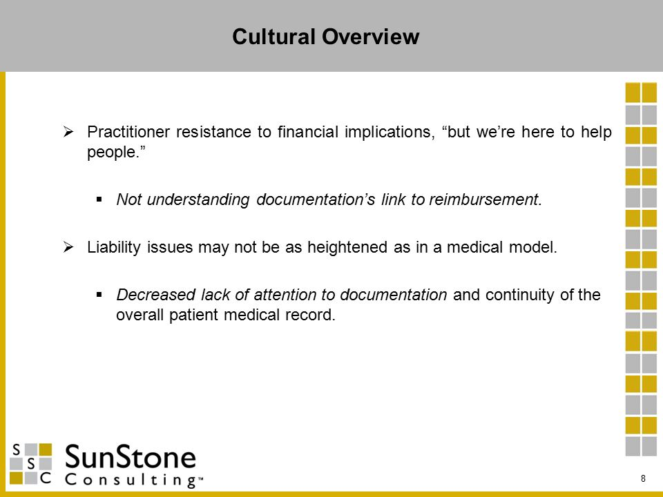 Cultural Overview  Practitioner resistance to financial implications, but we're here to help people.  Not understanding documentation's link to reimbursement.