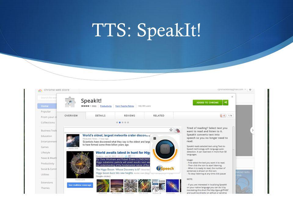 TTS: SpeakIt!