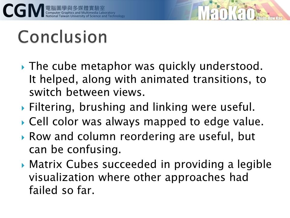  The cube metaphor was quickly understood. It helped, along with animated transitions, to switch between views.  Filtering, brushing and linking wer