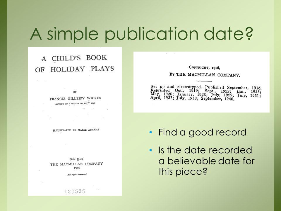 A simple publication date.