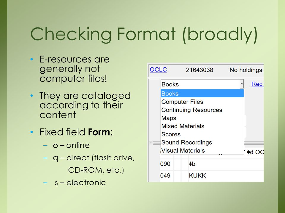 Checking Format (broadly) E-resources are generally not computer files.