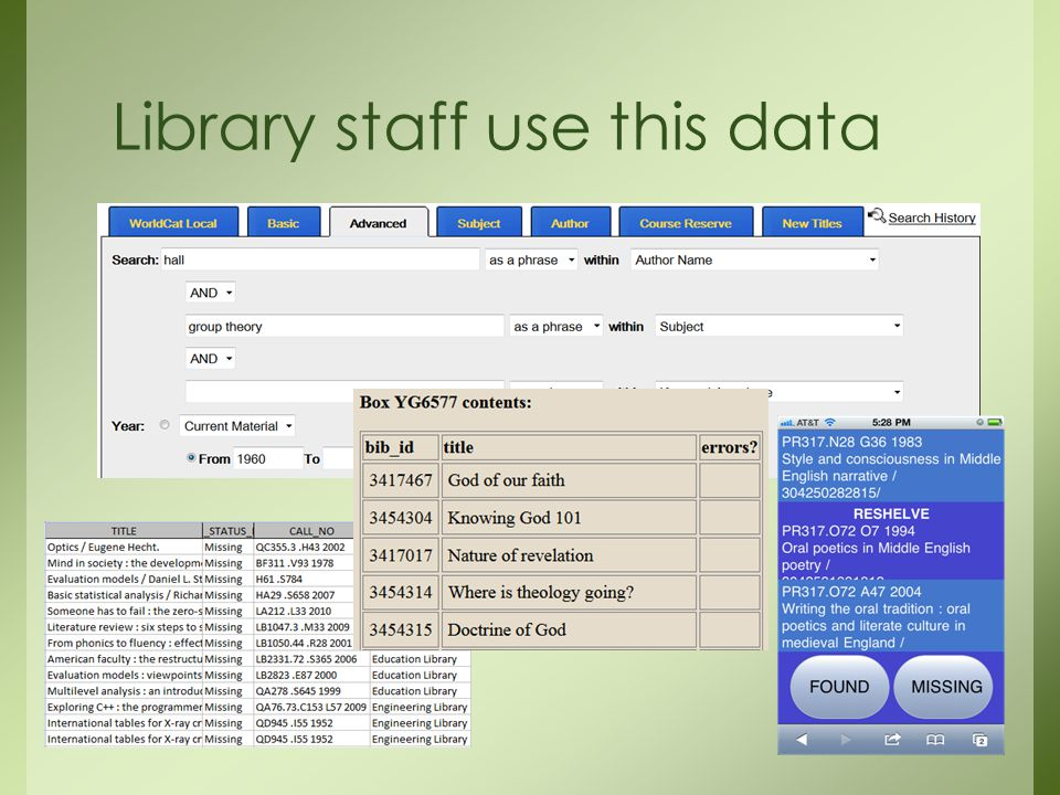 Library staff use this data