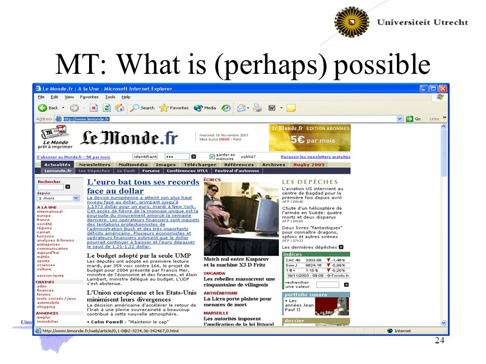 MT: What is (perhaps) possible 24