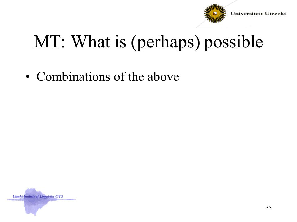 MT: What is (perhaps) possible Combinations of the above 35