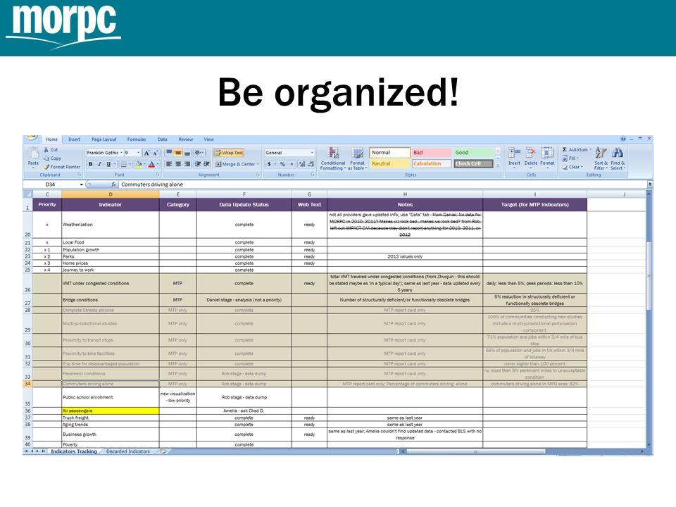 Be organized!